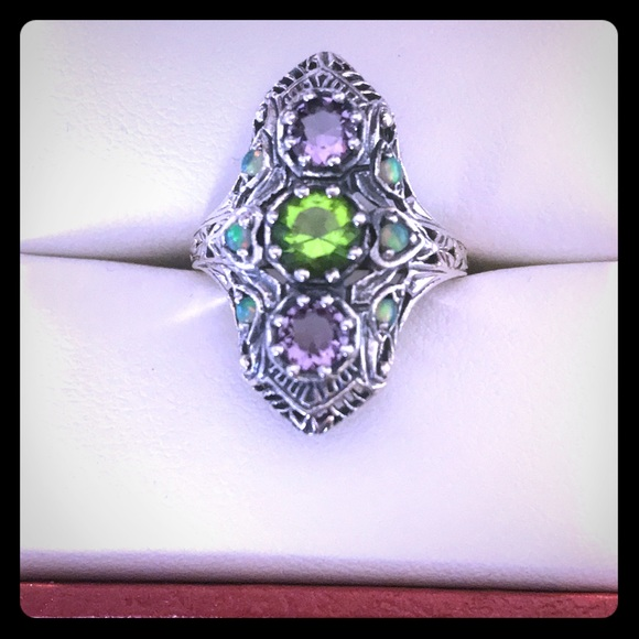 Stamped .925 Jewelry - Sold!! Peridot Amethyst & Opal Ring Size 6
